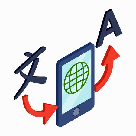 translator: Translator smartphone icon in isometric 3d style on a white background