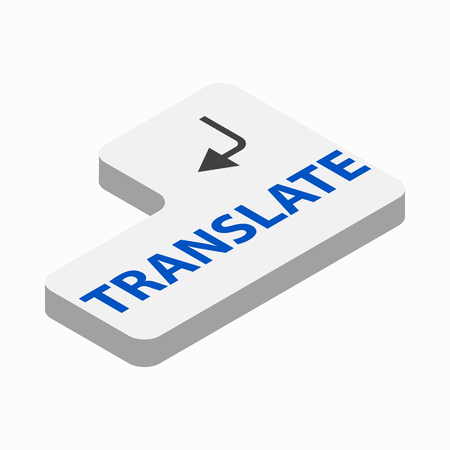 translate: Translate button icon in isometric 3d style on a white background