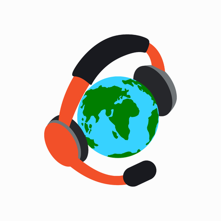lexicon: Globe with headphones icon in isometric 3d style on a white background Illustration