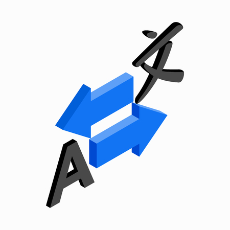 simultaneous: Translation icon in isometric 3d style on a white background Illustration