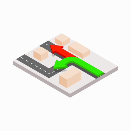 directions icon: Arrows showing directions icon in isometric 3d style on a white background Illustration