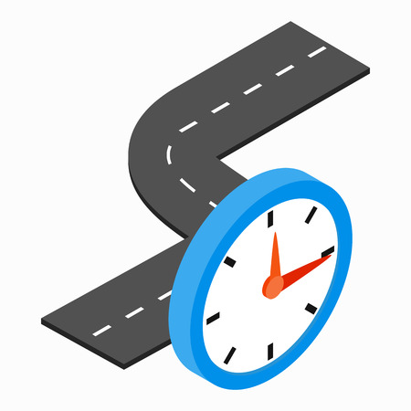 turn dial: Road and clock icon in isometric 3d style on a white background