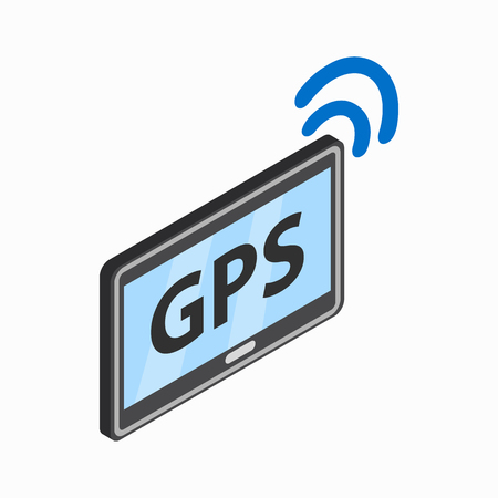 handheld device: Tablet pc with gps and wi-fi sign icon in isometric 3d style on a white background