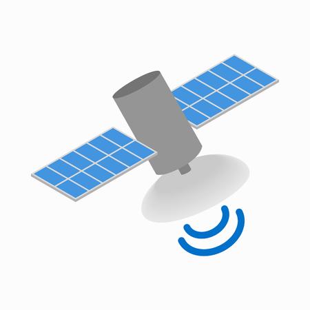 icona del satellite di comunicazione in stile isometrico 3d su uno sfondo bianco