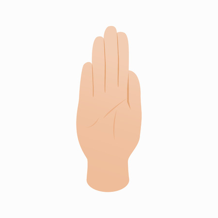 stop gesture: Stop gesture icon in isometric 3d style on a white background Illustration