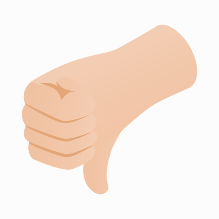 disapprove: Thumb down gesture icon in isometric 3d style on a white background