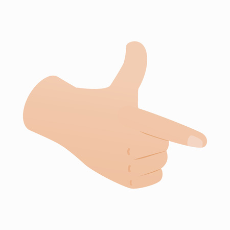 pointing hand: Pointing hand or pistol hand gesture icon in isometric 3d style on a white background