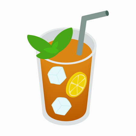 ice tea: Glass of tea with ice and lemon icon in isometric 3d style on a white background