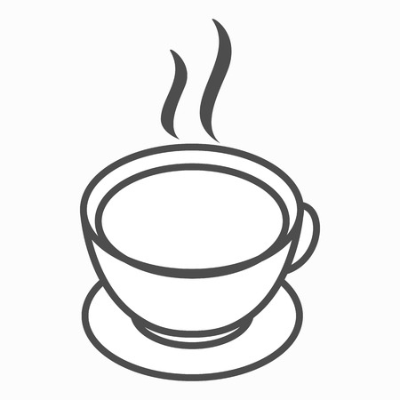 steam of a leaf: Cup of tea or cofee icon in isometric 3d style on a white background