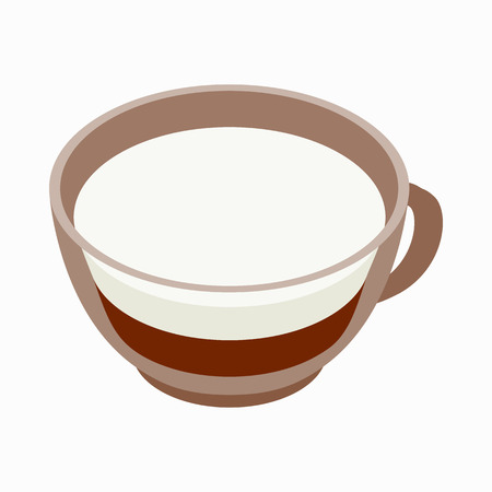 coffe break: Cappuccino cup icon in isometric 3d style on a white background
