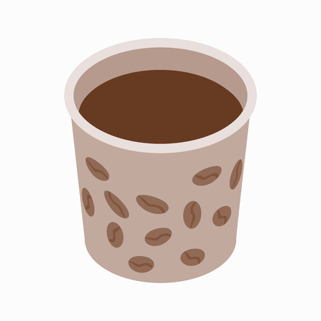 coffe break: Cup of coffee icon in isometric 3d style on a white background