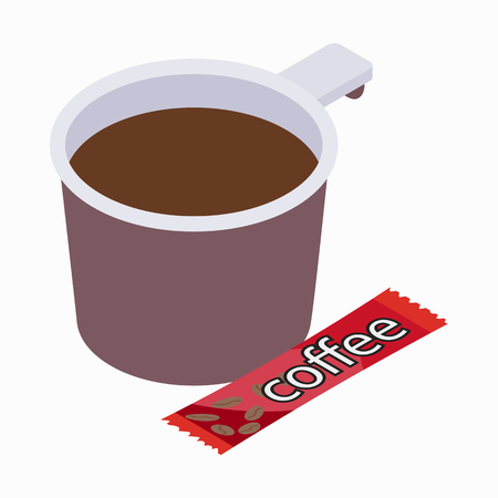 mocca: Cup of coffee icon in isometric 3d style on a white background