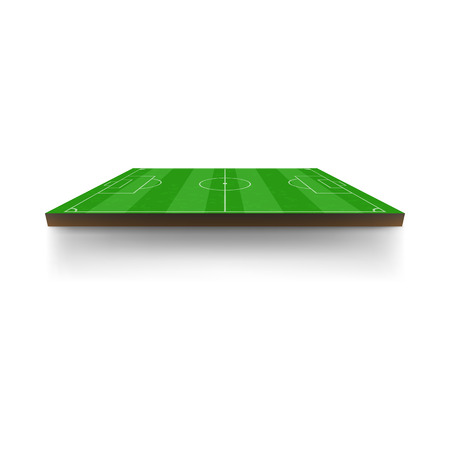 Green football or soccer field icon in cartoon style isolated on white background. Side view. Horizontal arrangement Illustration