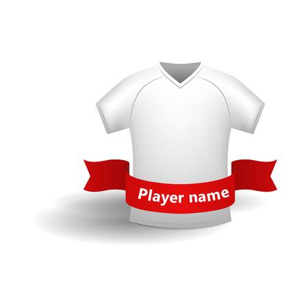symbol sport: Weiß Sporthemd mit rotem Band für Spielernamen Symbol im Cartoon-Stil auf weißem Hintergrund Illustration