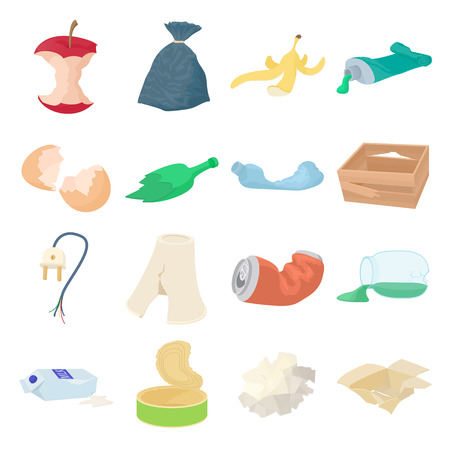 garbage bag: Garbage set icons in isometric 3d style isolated on white background Illustration
