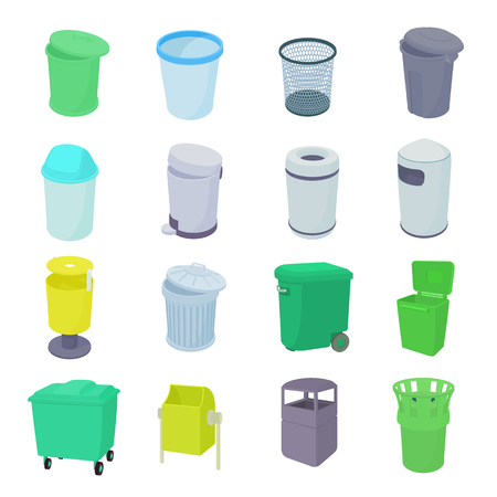 dustbin: Trash bin set icons in isometric 3d style isolated on white background