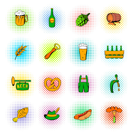 oktoberfest food: Oktoberfest set icons in comics style isolated on white background