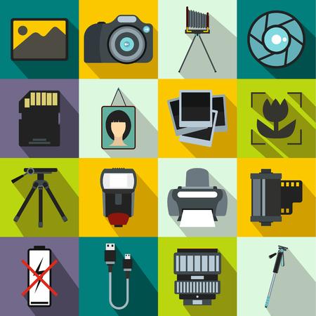polarizing: Photography set icons in flat style for any design