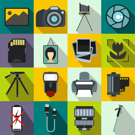 Photography set icons in flat style for any design
