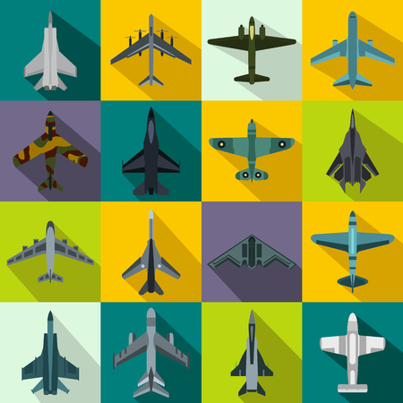 jet airplane: Aviation set icons in flat style for any design Illustration