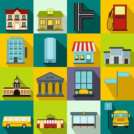 infraestructura: iconos de infraestructuras establecidos en el estilo de piso en cualquier dise�o