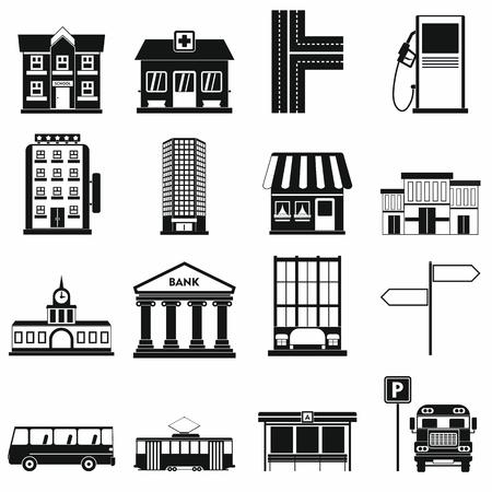 infraestructura: iconos de infraestructuras establecidos en estilo sencillo para cualquier dise�o