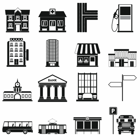 transit: Infrastructure set icons in simple style for any design Illustration