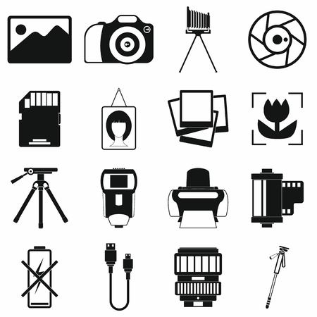 Photography set icons in simple style for any design