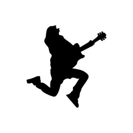 performing: Guitarist silhouette black isolated on white background