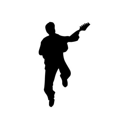 silhuette: Guitarist silhouette black isolated on white background