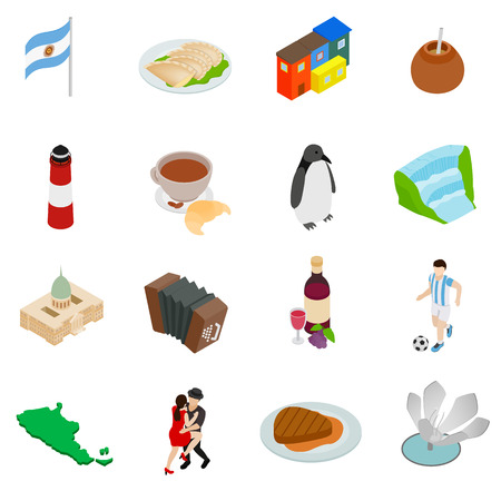 gaucho: Argentina set icons in isometric 3d style isolated on white background