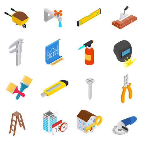 Repair and construction working tools icons set in isometric 3d style