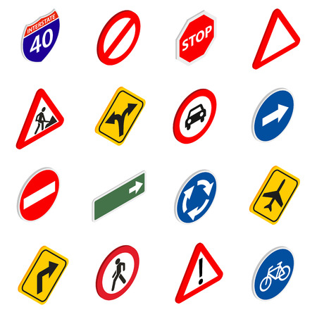 multiple lane highway: Road Sign Set icons in isometric 3d style isolated on white background