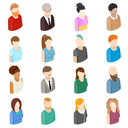 an avatar: Avatars set icons in isometric 3d style isolated on white background