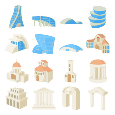 auger: Architecture set icons in cartoon style isolated on white background