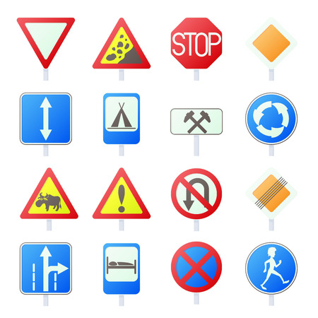 multiple lane highway: Road Sign Set icons in cartoon style isolated on white background Illustration