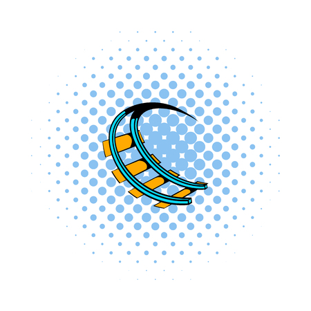 kinetic: Roller coaster ride icon in comics style isolated on white background