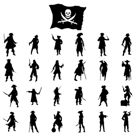 pirate crew: Pirates crew silhouettes set isolated on white background Illustration