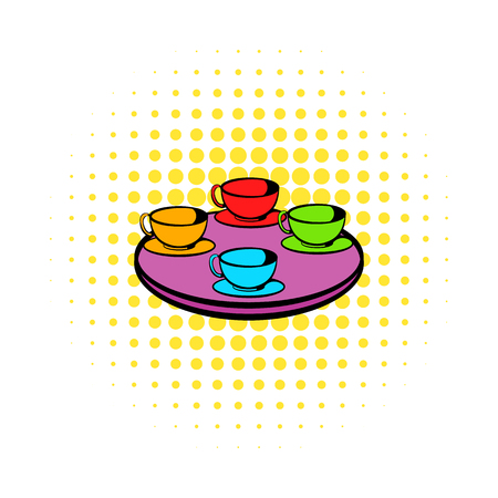 coffeecup: Coffee-cup carousel icon in comics style isolated on white background