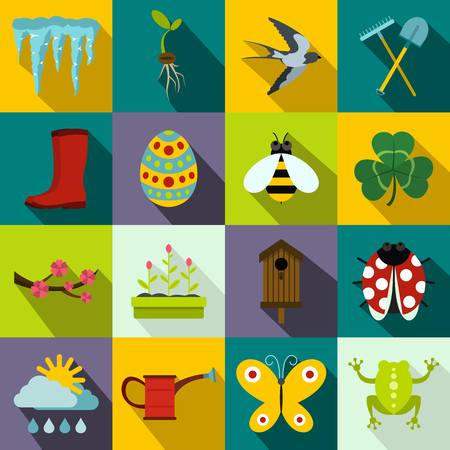 tulips in green grass: Spring icons set in flat style for any design Illustration