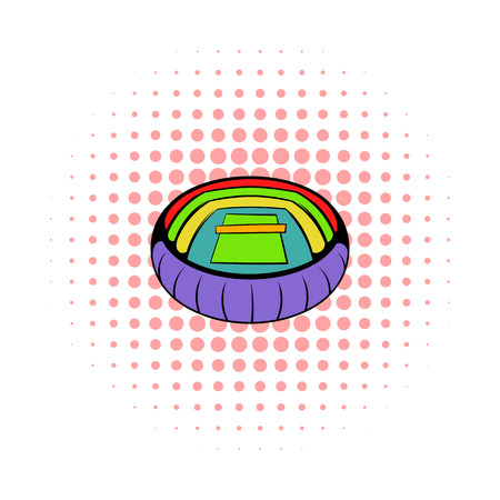 architectural team: Tennis stadium icon in comics style on a white background Illustration