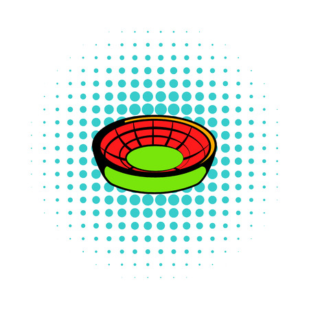 architectural team: Round stadium icon in comics style on a white background