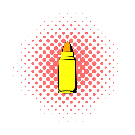 gunshot: Rifle bullet icon in comics style on a white background Illustration