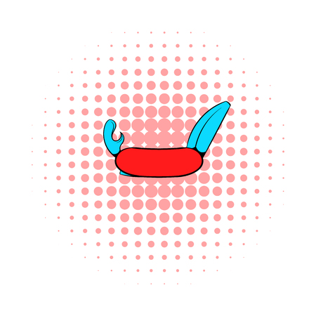 keen: Pocket knife with tools icon in comics style on a white background Illustration