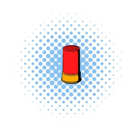 pellet gun: Shotgun shell icon in comics style on a white background