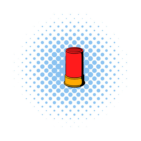 Shotgun shell icon in comics style on a white background