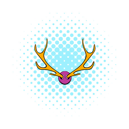 wildlife shooting: Deer head icon in comics style on a white background