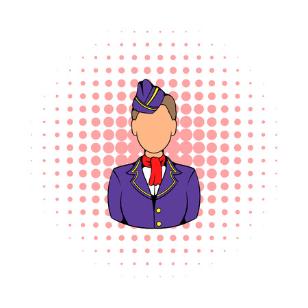 stewardess: Stewardess icon in comics style on a white background Illustration
