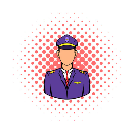 aircrew: Captain of the aircraft icon in comics style on a white background