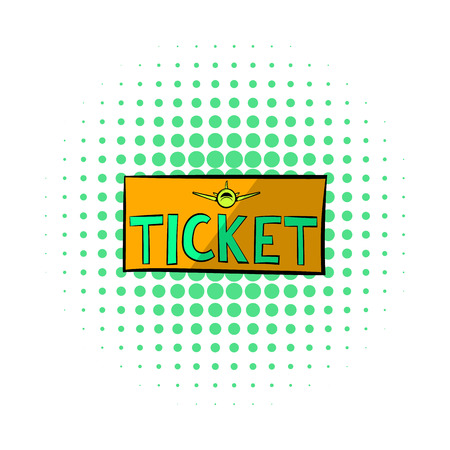 plane tickets: Plane tickets icon in comics style on a white background